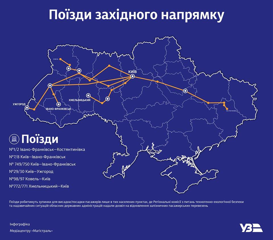 Укрзалізниця запустила поїзди до західних областей