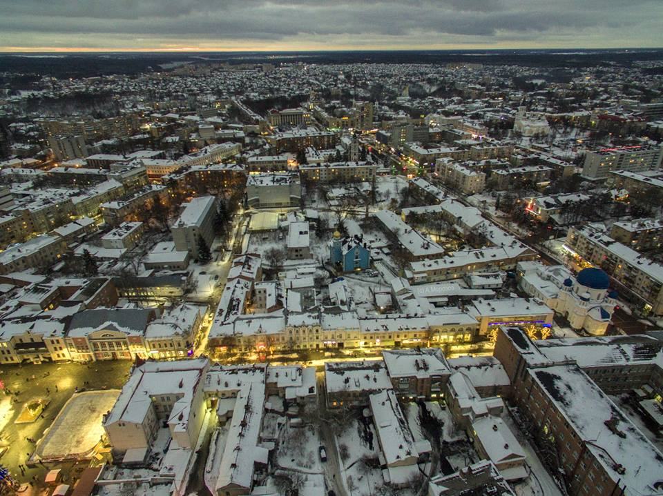 Фото Житомир с высоты. Вечерние улицы. Новогодняя иллюминация