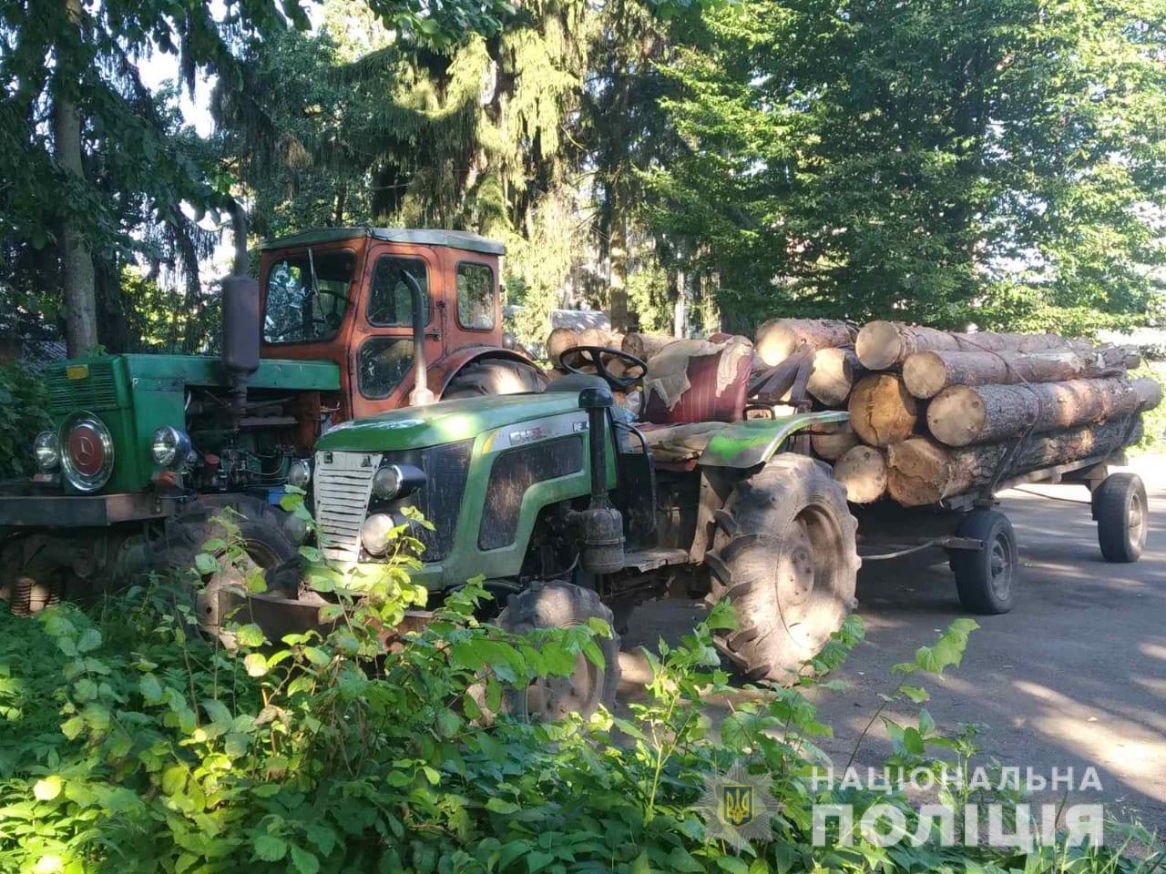 На Житомирщині продовжуть красти ліс - поліція Затримано трактори з сосною