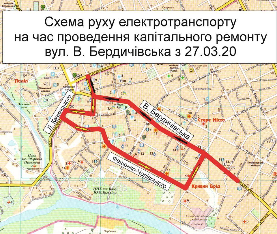 У Житомире ремонтують Велику Бердічівську - змінюється рух тролейбусів